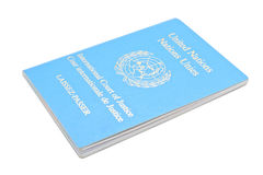 Laissez-passer. United Nation, International Court of Justice ICJ Laissez-passer isolated on white and in perspective royalty free stock image
