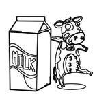 Lait avec une page de coloration de vache Image stock