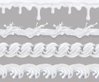 Lait, crème fouettée et lustre doux illustration de vecteur