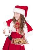 Lait de biscuits de sourire de Mme Santa Image libre de droits