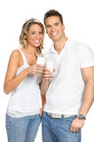 Lait de consommation de couples Photo libre de droits