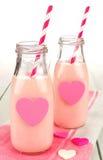 Lait de fraise de jour de valentines photographie stock