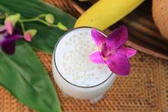 Lait de noix de coco avec le tapioca Image libre de droits