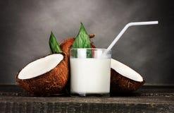 Lait de noix de coco et noix de coco photographie stock