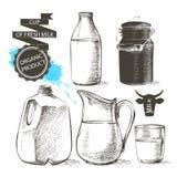 Lait de pot de bouteilles Image libre de droits