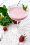 Lait de poule de fraise Photographie stock