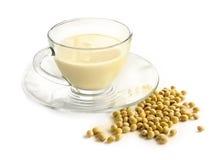 Lait de soja avec du soja photo libre de droits
