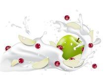 Lait de yaourt avec les baies et les tranches rouges de pomme 3d lait débordant s illustration stock