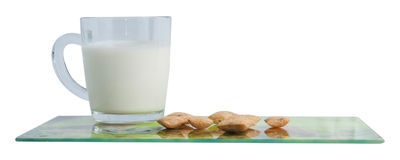 Lait et biscuits images stock
