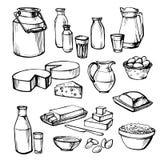 Lait et produits de la ferme sur un fond blanc Images libres de droits