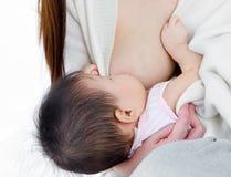 Lait maternel potable de bébé asiatique Images libres de droits