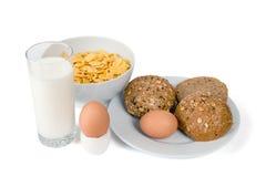 Lait, pain, flocons et oeufs Image libre de droits