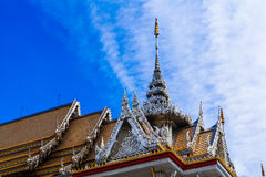 Laithai roof of temple with sky  Royalty Free Stock Images