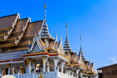 Laithai roof of temple with sky  Royalty Free Stock Image
