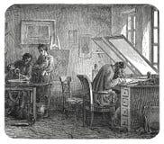 Laiton découpant la gravure antique d'atelier Images stock