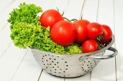Laitue fraîche et deux genres de tomates Photographie stock libre de droits