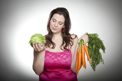 Laitue ou carottes Photos stock