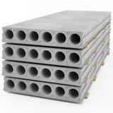 Lajes de cimento reforçadas colocadas em uma pilha Fotografia de Stock