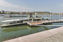 Lajta Monitor Museumship on Danube river in Budapest, Hungary. Royalty Free Stock Photo