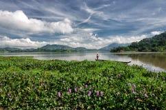 LAK VIET NAM DI DAK: Il gruppo di agricoltore asiatico va lavorare in barca di fila sul lago nel tempo di autunno, famiglia di mi Immagine Stock