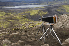 Lakagígar. Viuw eruption craters at Lakagigar and camera with roller blind on the tripod Stock Photography