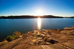 lake över solnedgång arkivbilder