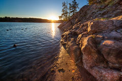 lake över solnedgång royaltyfria foton