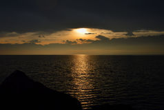 lake över soluppgång bergig liggande Royaltyfri Fotografi