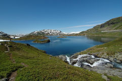 Lake. In Norway with a stream Stock Image