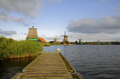 Lake. With windmill in the little village of holland Stock Photos