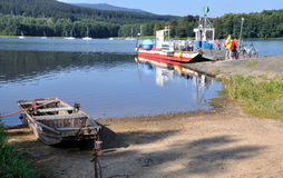 Lake. Ferry in the South Bohemian on like Lipno stock photography