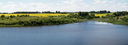 The lake. The nature panoramic view. Lithuania Royalty Free Stock Photo