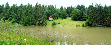 Lake. Panaramic landscape lake with lodge ashore Royalty Free Stock Photo