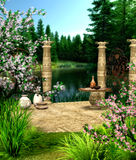 At the Lake. A terrace at the lake in spring Stock Photography