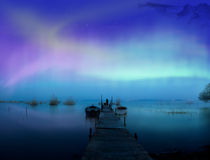 The lake. Lights above the lake,man with a dog-Aurora borealis Stock Photography