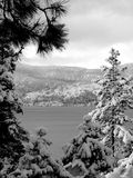 By the lake. Winter scene at lake Tahoe, California stock image