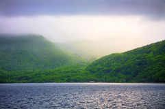 The lake. Fog on a vulcano in Hokkaido in Japan Royalty Free Stock Photography