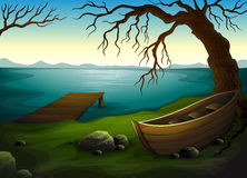 Lake. Detailed illustration of a lake scene Stock Photo