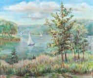 At lake. Summer landscape, lake, sailing vessels, coast Stock Photography