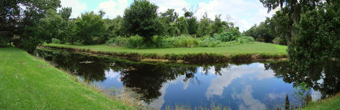 Lake. A panoramic view of a lake and the surrounding greenery stock images