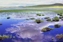 Lake. Bashang Grassland stretches from northern Hebei province into Inner Mongolia in China. It is one of the major destinations for Chinese landscape Stock Photo