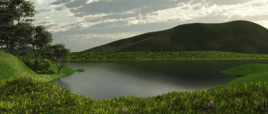 The lake. 3d rendered image Stock Photos