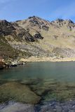 Lake. Beautiful lake in the Pyrenees mountains, in Andorra royalty free stock images