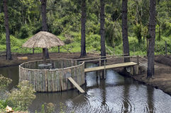 Lake. Kiosk in a lake surrounded by trees Stock Photography