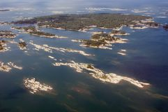 Lake. Bird's-eye view on lake and islands Stock Images