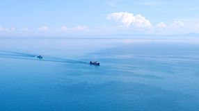 Lake. Two ships in the middle of a lake Stock Photography