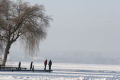 Lake. A lake in denmark in winter with a family Stock Photos