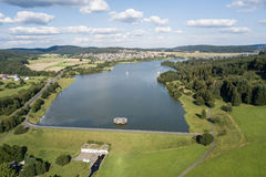 Lake Aartalsee in Hesse, Germany. Aerial view of the Aar Dam and its reservoir, the Aartalsee in Hesse, Germany Royalty Free Stock Images