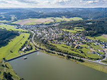 Lake Aartalsee in Hesse, Germany. Aerial view of the Aar Dam and its reservoir, the Aartalsee. Bischoffen, Province of Hesse, Germany stock photography