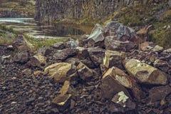 Lake in abandoned basalt quarry Stock Image